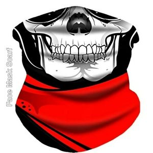Unisex Face Mask Scarf, Gothic Skull Face Red